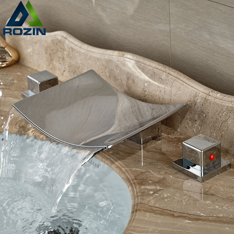 5 models Widespread Chrome Waterfall Tub Sink Faucet Bathroom Brass Hot and Cold Basin Mixer Taps
