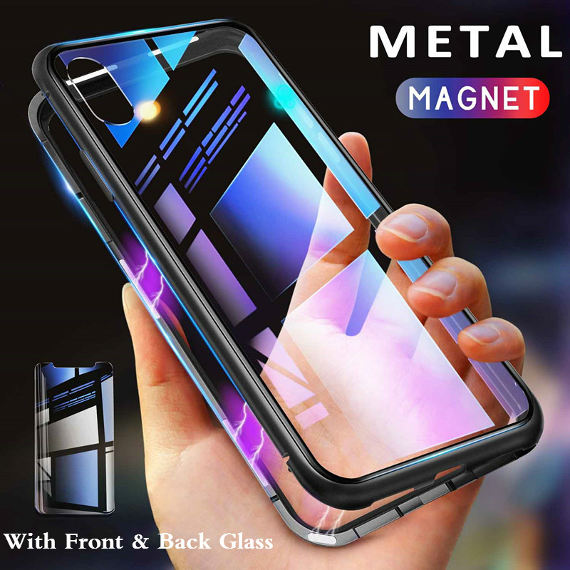 Metal Magnetic Case For Iphone XR XS MAX X 8 Plus 7 + Double Sided Tempered Glass Magnet Cases Cover For Iphone 7 6 6S Plus Case