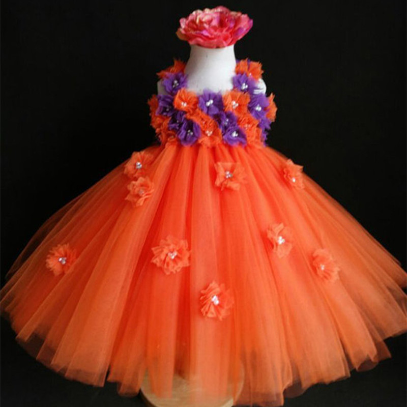Pumpkin Halloween Costumes Tulle Baby Girls Tutu Dress Children Kids Party Dance Performance Dress Disfraces Infantiles Princesa