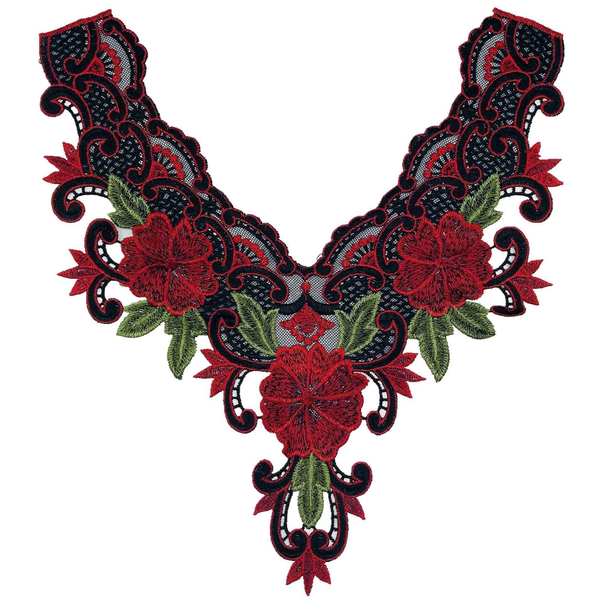 Godier модные мотивы шеи аппликация вышитые нашивки цветы кружевная ткань для творчества