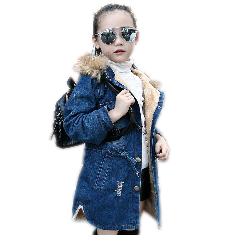 2018 Kids Girls Denim Jacket Large Fur Collar Cotton Jeans Outerwear