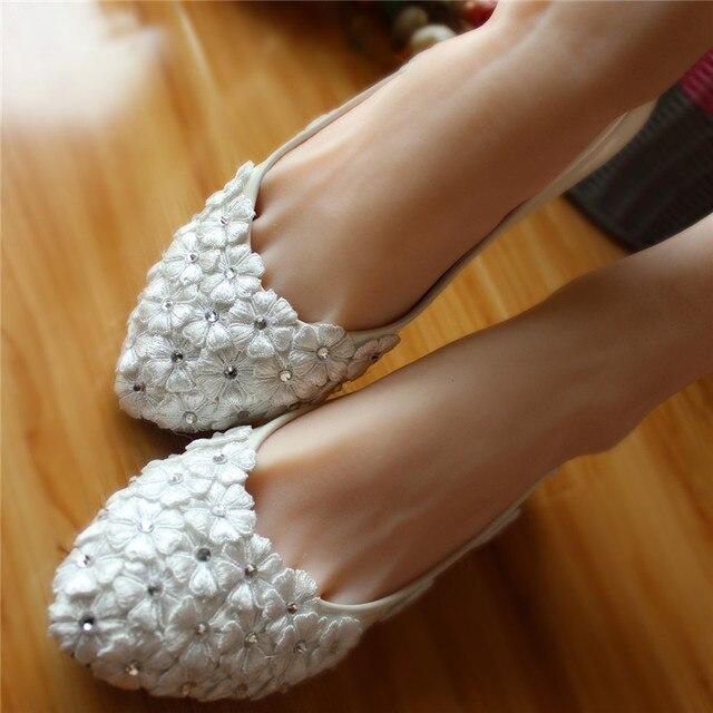 c1bfe3a57f15 Full sizes women Ivory White garden wedding ballet flats shoes