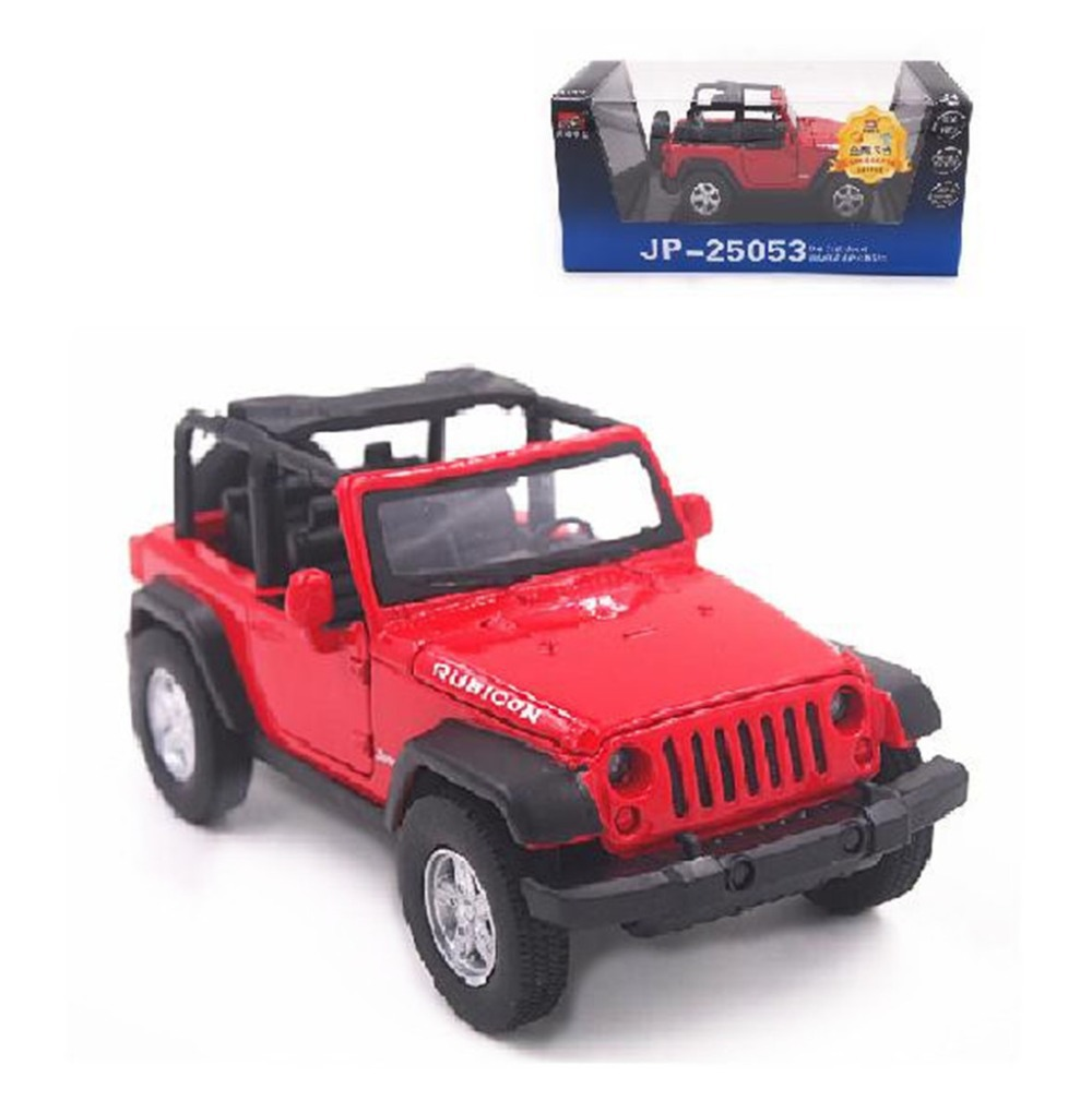 1 32 open jeep wrangler rubicon diecast sound light model boy toy car red