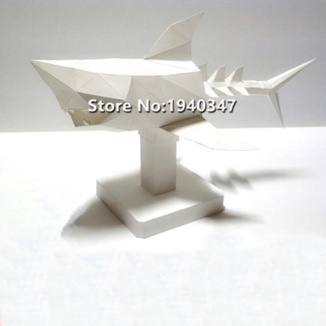 Bricolage mort requin 3D papier modèle Puzzles jouet pour la maison Restaurants magasins Bars étanche éducatif papier pliant modèle enfants adulte