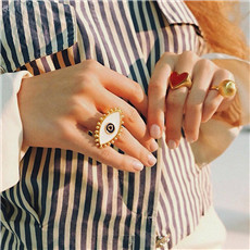 AOMU-2019-New-Fashion-Opening-Adjustable-Gold-Color-Dripping-Oil-Evil-Eye-Finger-Rings-For-Women