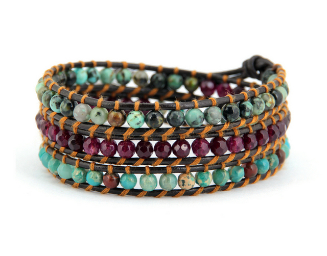 high fashion natural stone beading wrap bracelets unique vintage