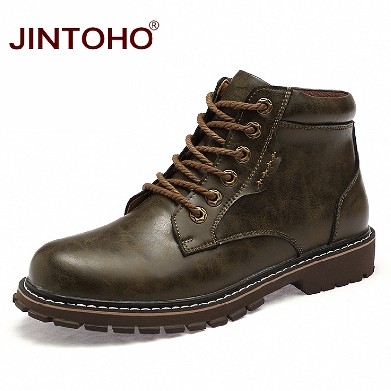 JINTOHO 2018 Genuine Leather Boots For Men Winter Leather Work Boots Male Safety Boots Ankle Men