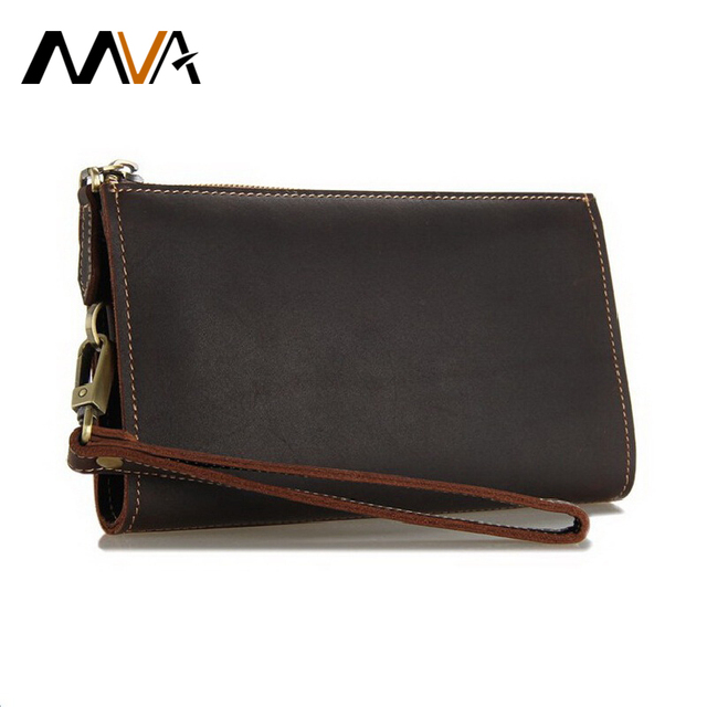 MVA Long Men's Wallets Vintage Leather Wallet Men Genuine Leather Wallet Clutch Phone Card Holder Purse Male Purse Men Wallets