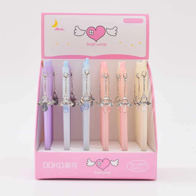 36pcs Creative Stationery Student Pen Angel Pendant Gel 0.5mm Full Needle Black Ink School Supplies Office