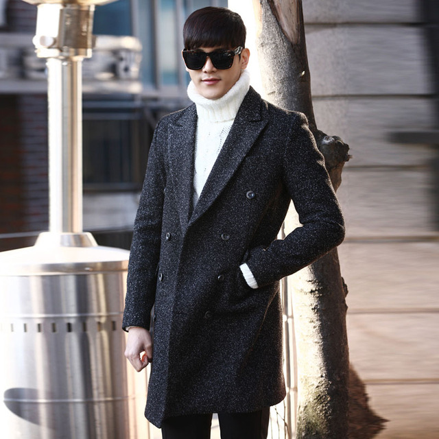 Trench Coat Men Double-breasted woolen Trench Coat Autumn Winter medium-long slim fit fashion casual Mens Windbreaker Size M-2XL
