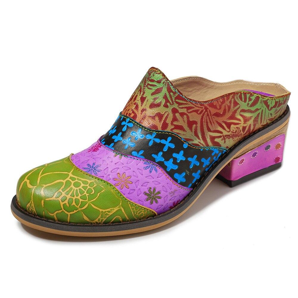 Johnature 2019 Nieuwe Leisure Zomer Handgemaakte Lederen Bloem handgeschilderde Multicolor Buiten Vrouwen Slippers Sandalen Slides-in Slippers van Schoenen op  Groep 1