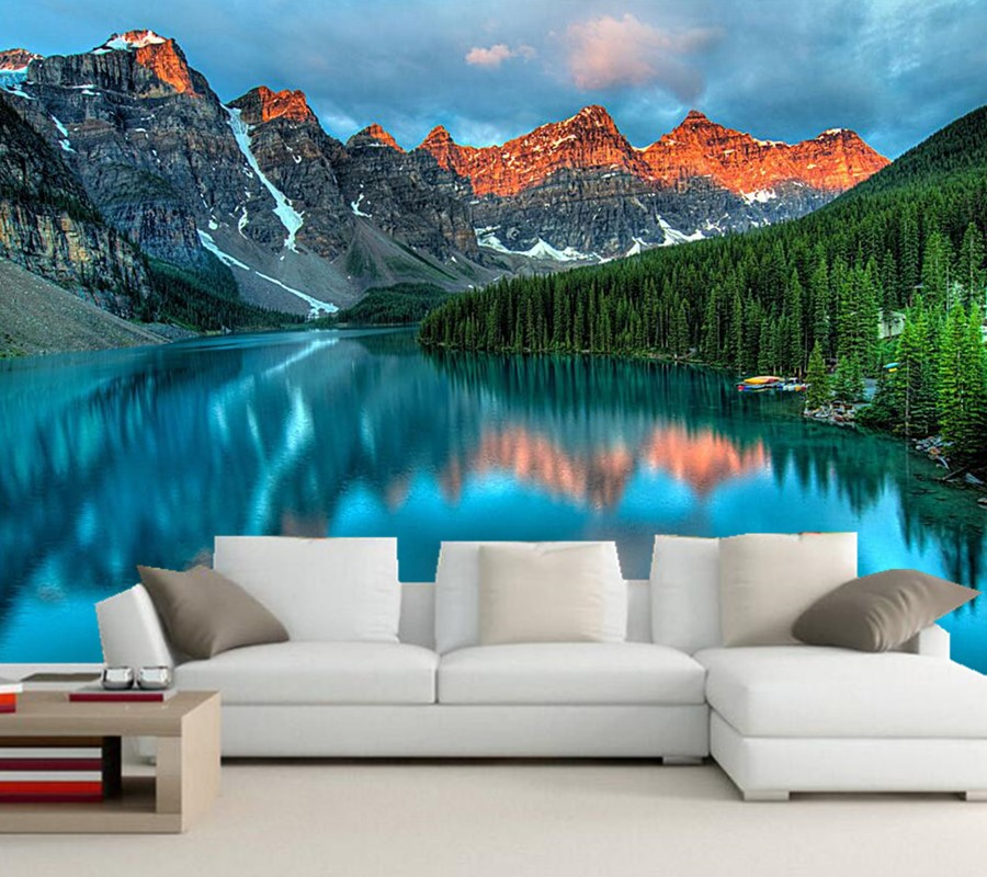 Custom 3d photo wallpaper, Mountain lake scenery photography wallpaper nature,living room tv sofa wall bedroom papel de parede large mural papel de parede european nostalgia abstract flower and bird wallpaper living room sofa tv wall bedroom 3d wallpaper