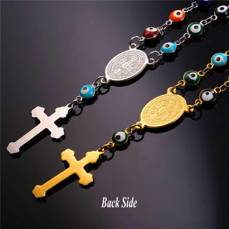 Collare różaniec biżuteria zestawy zła oczu krzyż łańcuch złoty kolor ze stali nierdzewnej medalik świętego benedykta naszyjnik bransoletka zestawy S215
