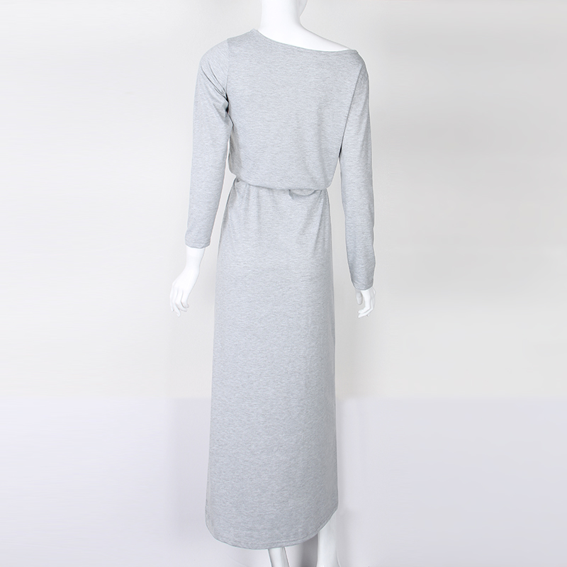 Autumn Women Long Maxi Dress Slash Neck Sashes Winter Dresses Casual Long Sleeve Solid Dress Casual Plus Size GV028 18