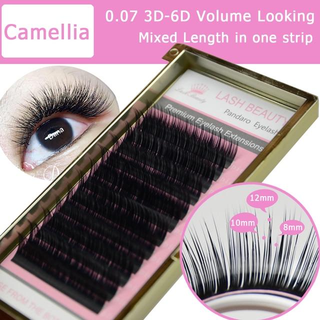 169e0e3270e 10 Trays Camellia Eyelash 3D-6D 0.07/0.10 Volume Fan Eyelash Extensions  Mixed Length