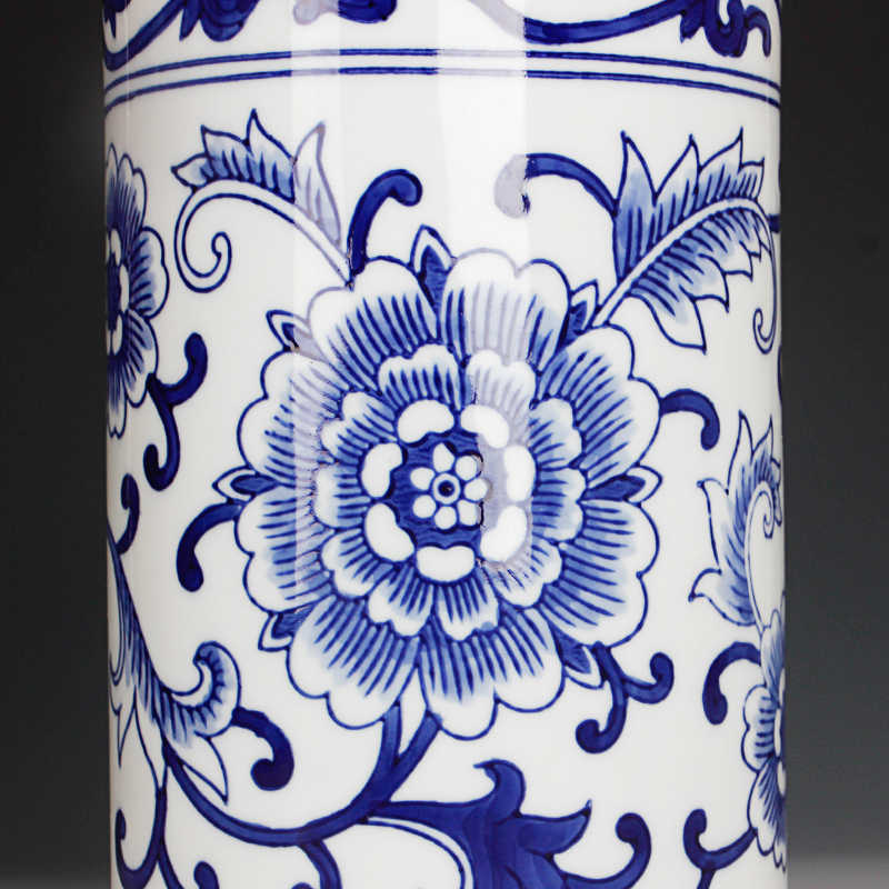 J ingdezhen handpaintedสีฟ้าและสีขาวพอร์ซเลนแขวนผนังแจกันขนาดใหญ่แขวนดอกไม้แจกัน