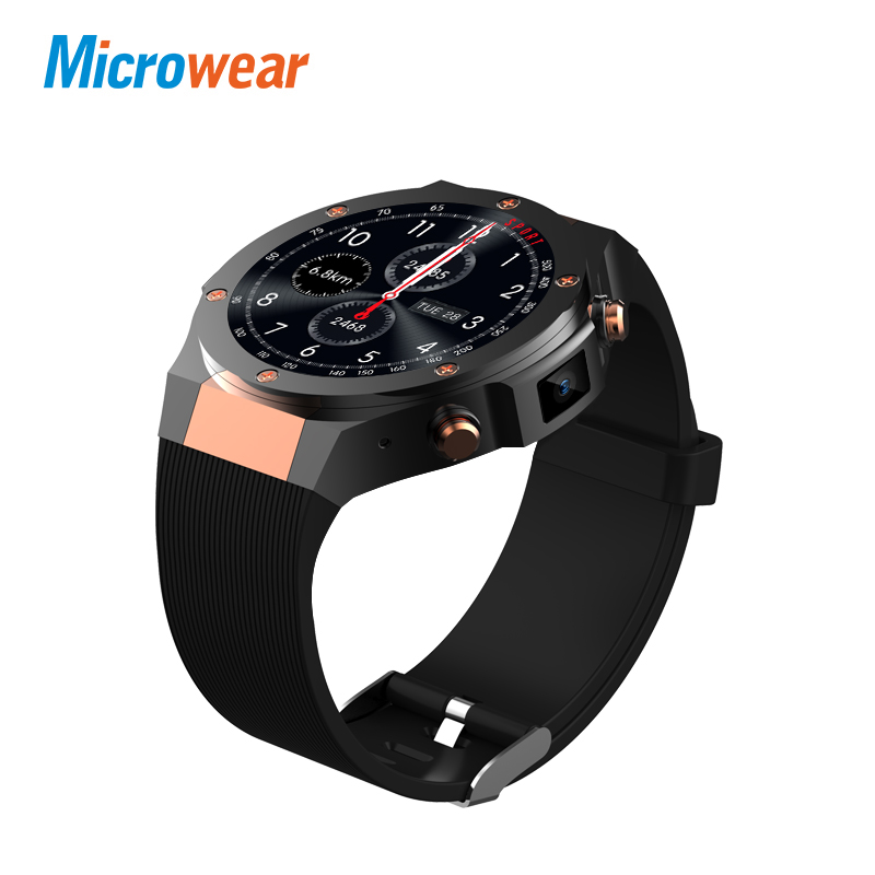 Microwear H2 3G Smart Watch Phone 1.39 inch MTK6580 Quad Core 16GB ROM 5.0MP Cam Heart Rate Monitor Pedometer GPS Smartwatch men jrgk kw99 3g smartwatch phone android 1 39 mtk6580 quad core heart rate monitor pedometer gps smart watch for mens pk kw88