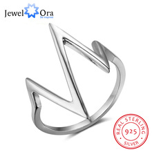New 925 Sterling Sliver Rings for Women Unique Design Lightning Heartbeat Shape Romantic Style Gift to Girls JewelOra RI102766