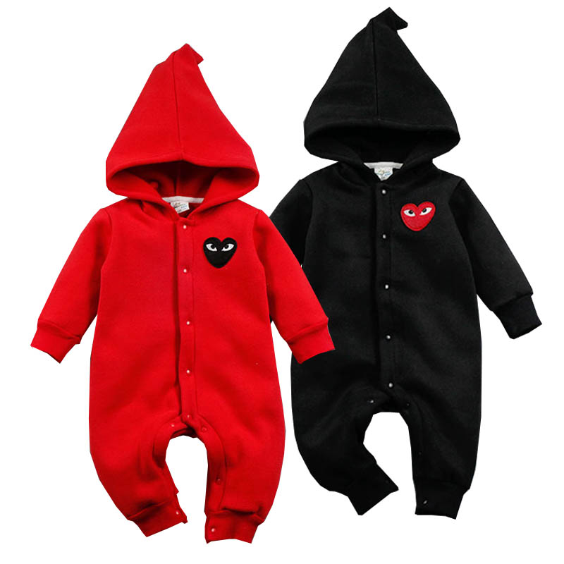 Fashion Baby Rompers Cotton Newborn Baby Girl Boy Romper Winter Overalls Hooded Clothing Warm Clothes Bebes Infantil Black Red newborn baby rompers baby clothing 100% cotton infant jumpsuit ropa bebe long sleeve girl boys rompers costumes baby romper