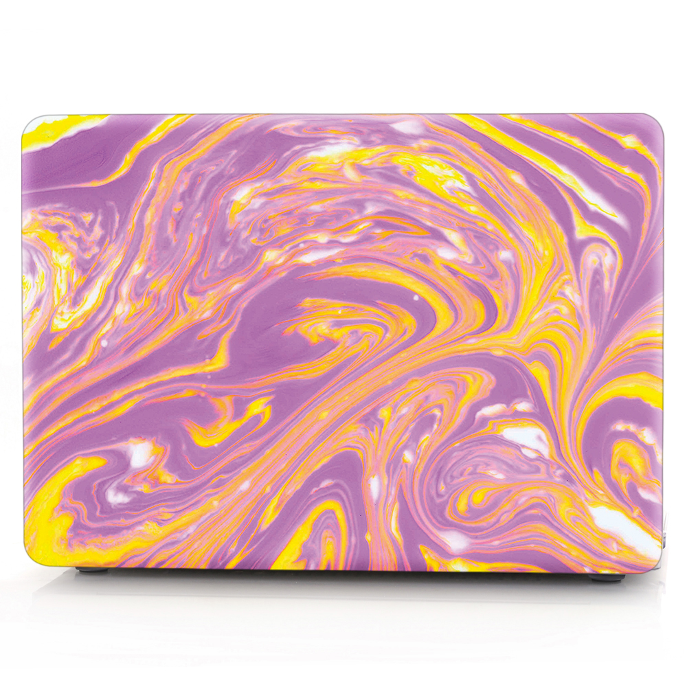 HRH Texture Purple Mix Yellow Laptop Body Shell Protective Hard Case For MacBook Air 11 13 A1369 /Pro 13 15 /Pro Retina 12 13<