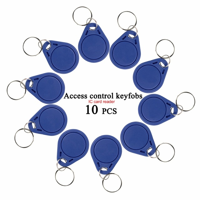 10 PCS 13.56mHz Smart Card IC Keychain Blue Mini IC Card For Home Security Compatible With Door Entry System/RFID Reader F1765A