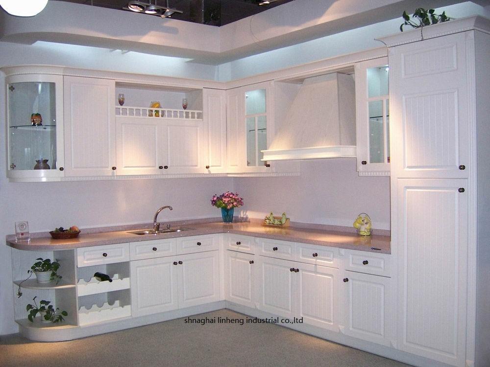 PVC/vinyl kitchen cabinet(LH-PV035) melamine mfc kitchen cabinets lh me011