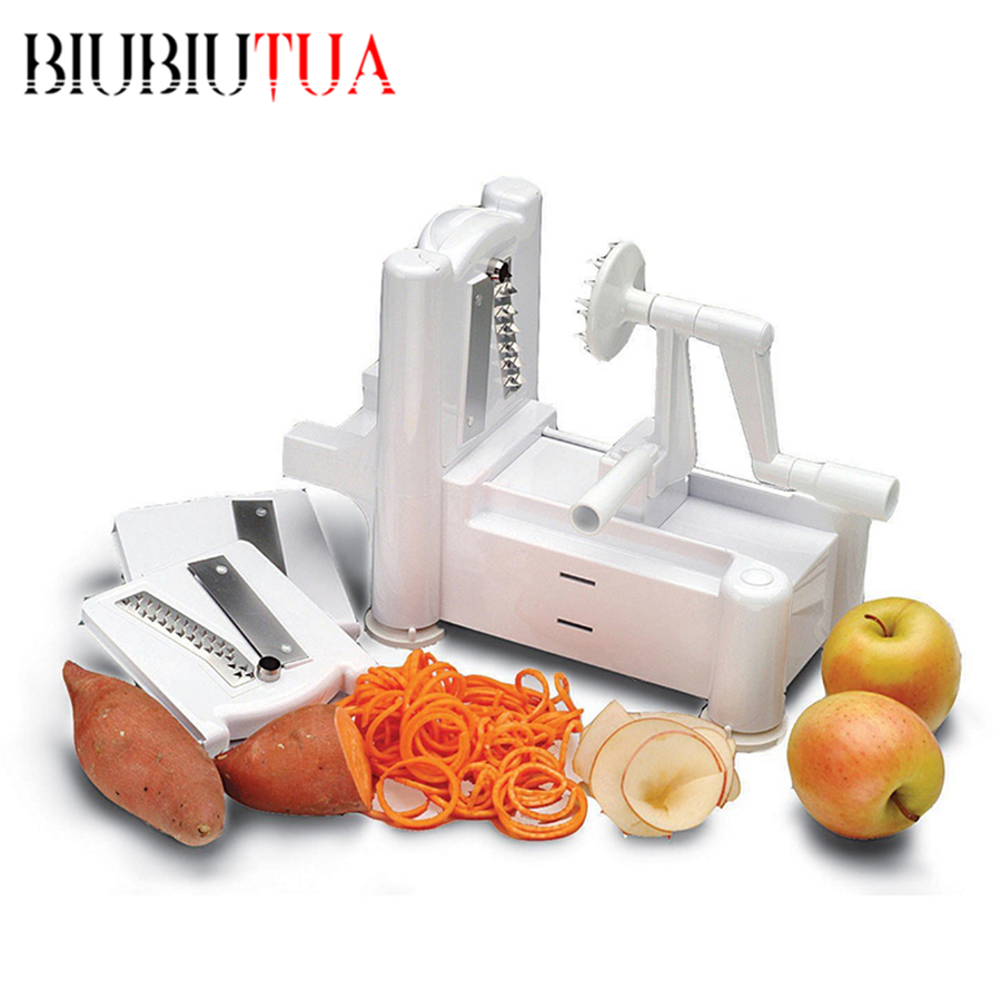 BIUBIUTUA Kitchen Accessorie Tri Blade Spiral Potato Clever Cut Vegetable Slicer Cucumber Vegetable Tools Spiralizer Chopper