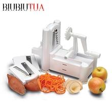BIUBIUTUA Küche Zubehör Tri Klinge Kartoffelspirale Geschickte Schnitt Gemüse Gurkenhobel Gurken Gemüse Werkzeuge Spiralizer Chopper