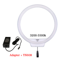 YONGNUO YN608 Annular LED Ring Light 3200K~5500K Bi Color Temperature Photo Lamp Video Light Wireless Remote with Power Adapter