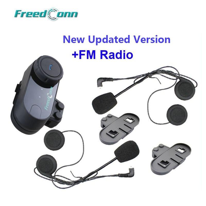 Version mise à jour!! FreedConn T-COM VB BT Bluetooth Moto Casque Interphone Casque avec Radio FM + Écouteur Supplémentaire + Support