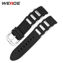 WEIDE Brand Men Sport Watch Silicone Strap With Stainless Steel Band Width 22mm Watch Strap 21cm Soft High Quality Watch Band