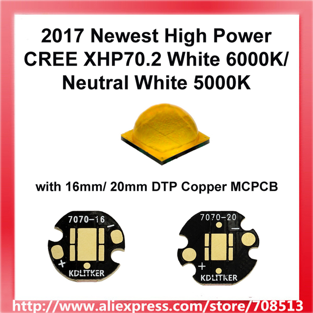 2017 Newest High Power Cree XHP70.2 White 6000K / Neutral White 5000K LED Emitter with 16mm / 20mm DTP Copper MCPCB (1 pc)