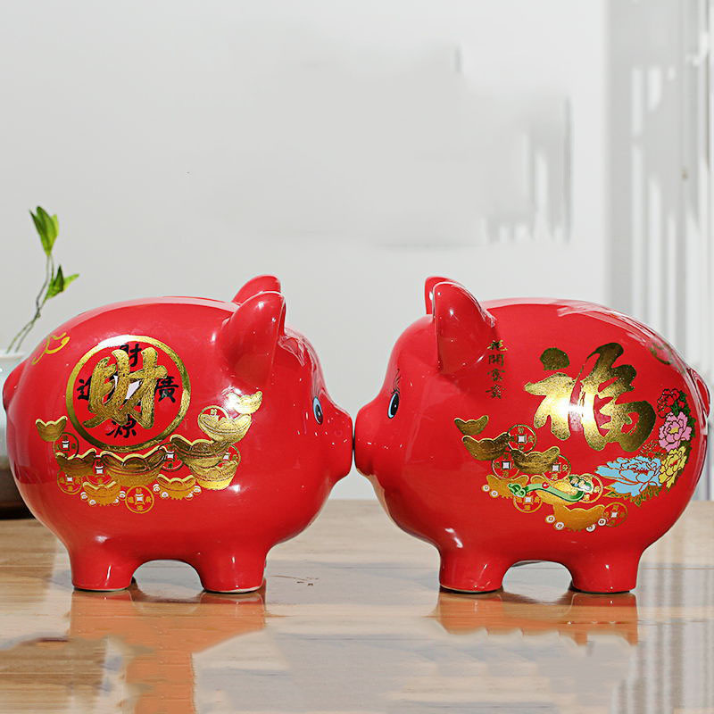 Best Selling Ceramic Red And White Pig Statue Piggy Bank Pig Bank Children Save Money Coin