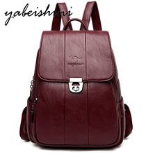 Mochilas Multifunctional Women's vintage leather backpack Sac a Dos large capacity women's travel backpack Female shoulder bag