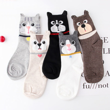 Cartoon dog cat socks women cute animal odor absorbent sweat-absorbent spring autumn Cotton comfort leisure Student sock