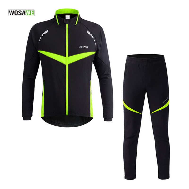 WOSAWE Winter Cycling Sets Bicycle Thermal Jacket Suits Men Women Bike Pants Ciclismo Cycling Clothing Climbing Sportswear купить дешево онлайн