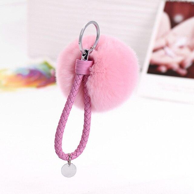 8 centímetros De Pele Pompons PomPom Keychain Chaveiro De Pele de Coelho para As Mulheres Fluffy Pompons Llavero Chaveiro Saco Acessórios de Couro chaveiro