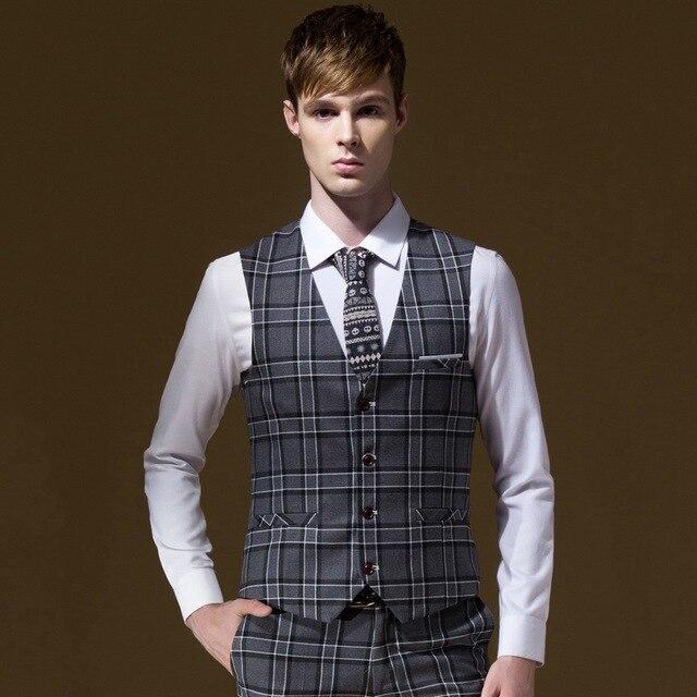 2f04cc4912f Hombres otoño Formal gris Plaid trajes chalecos negocios boda novio moda a  cuadros v-cuello