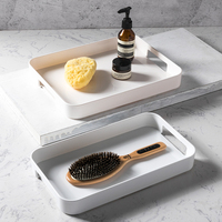Waterproof Plastic Bathroom Trays Japan Style Rectangle Multi Use Storage Tray for Fruits/Coffee Tea Trays Anti Skip