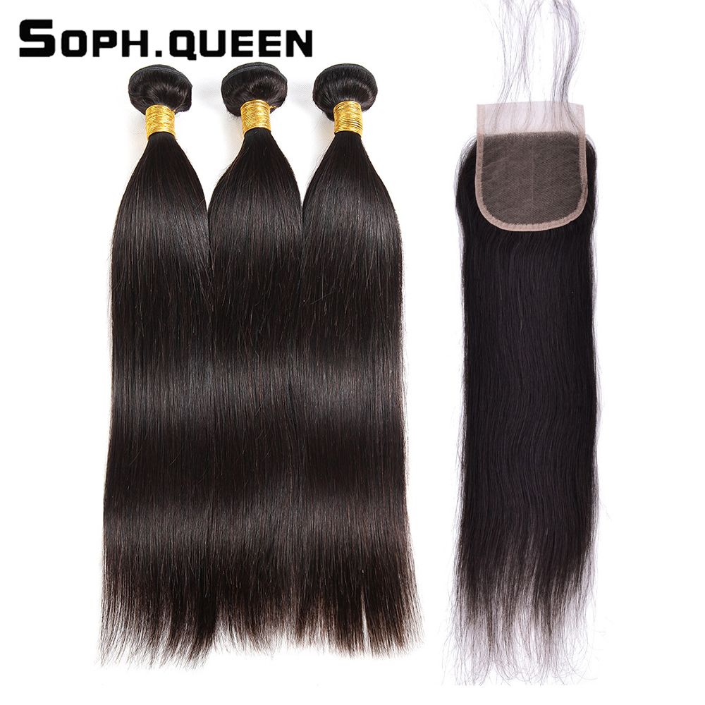 Sophqueen Remy Brasilian Hair Straight Wave 3 Bundles Med Closure - Menneskelig hår (for svart)