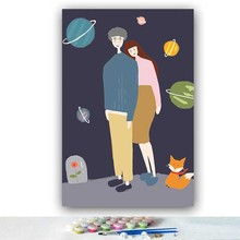 DIY colorings pictures by numbers with colors Couple little prince planet picture drawing painting framed Home