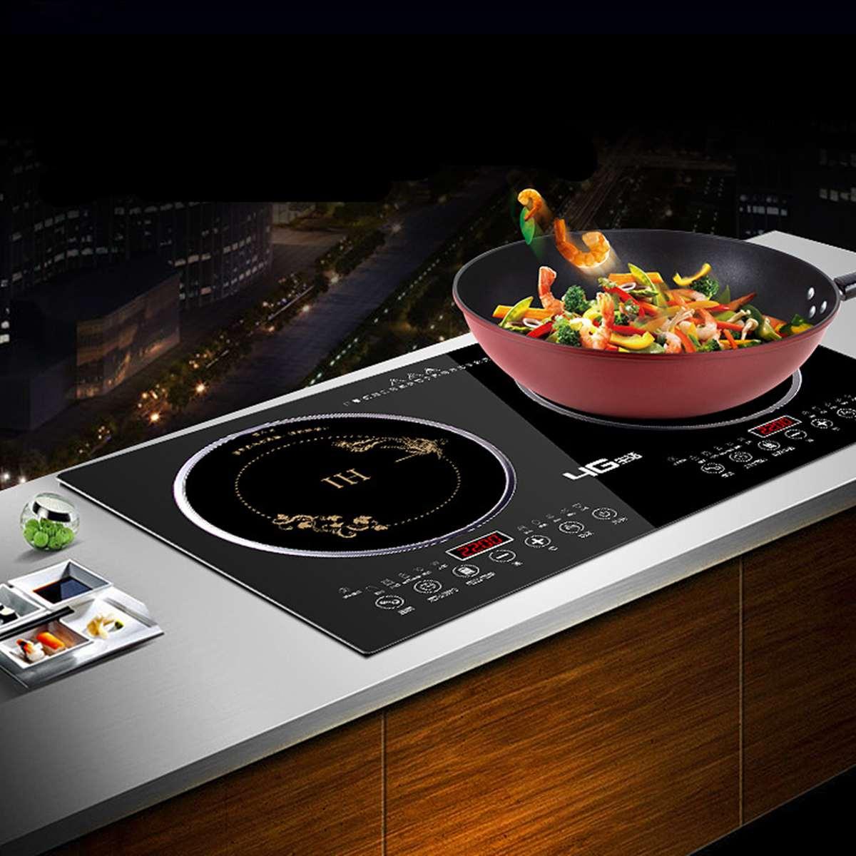 Nouveau 2200 W Double cuisinière à Induction/cuisinière à Induction + cuisinière électrique en céramique deux plaques chauffantes à Double tête de brûleur électrique