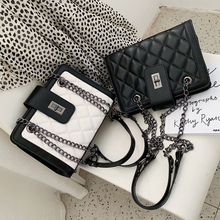 Elegant Female Tote bag 2019 Fashion New Quality PU Leather Women's Designer Handbag Classic Plaid Chain Shoulder Messenger bags-in Shoulder Bags from Luggage & Bags on AliExpress
