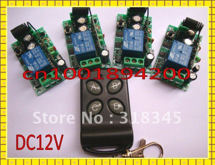 Free Shipping DC12V RF Wireless remote control switch system 1 transmitter +4 receiver(switch)10A 1CH Toggle Momentary Latched free shipping dc12v 1ch wireless remote