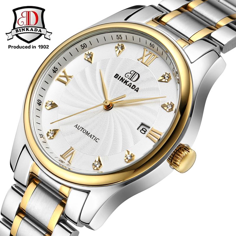 2017 BINKADA Men Casual Stainless Steel Top Brand Luxury Watches Automatic Date Mechanical Watch Men's Fashion Gift Wristwatch luxury brand t winner self wind mechanical watch men date display watches modern stainless steel band casual men clock gift 2017