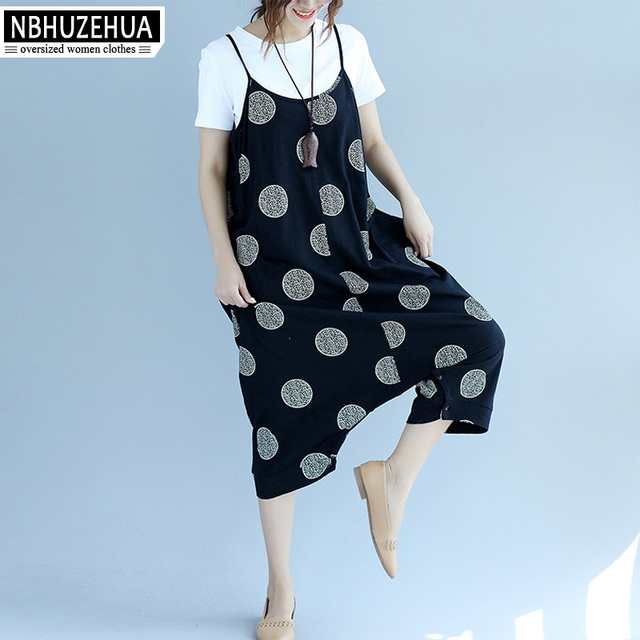 f2a7b0aceee NBHUZEHUA A291 Polka Dot Suspender Jumpsuit Pants Women Cotton Linen  Jumpsuits Casual Bodycon Plus Size Female Overalls 4XL 5XL
