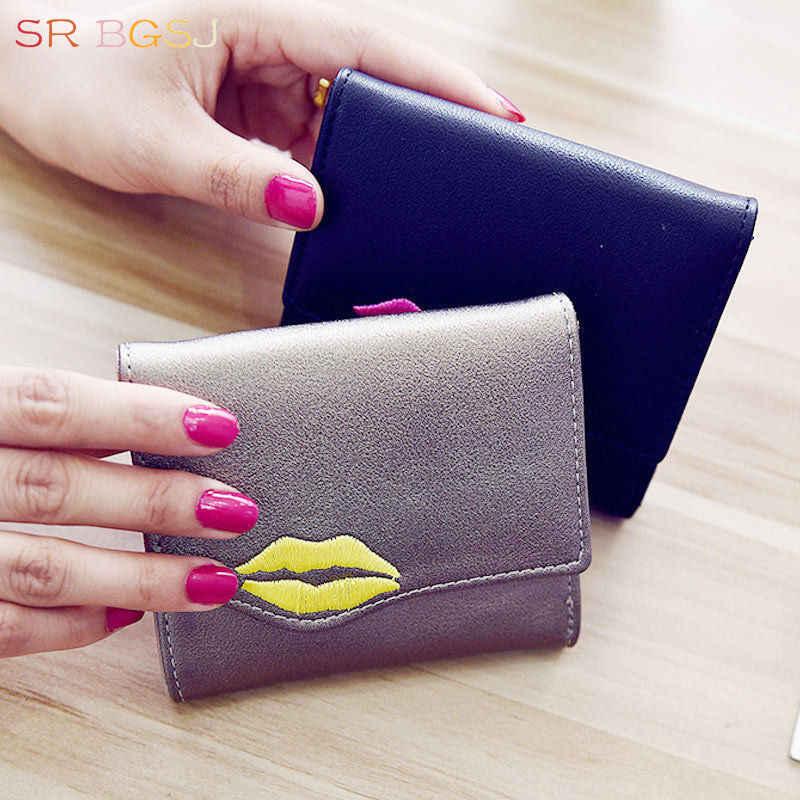 Bezpłatny statku czarny szampan Sexy usta portfel moda kobiety Lady skórzany Mini portfel 3-częściowy portfel na karty monety kiesy
