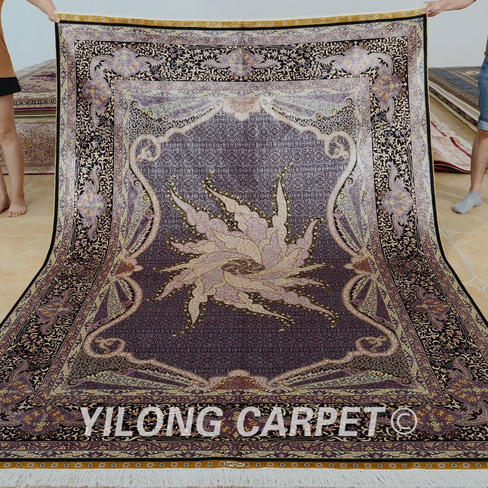 Yilong 6'x9 '골동품 손 매듭 실크 카펫 rectangel 중국 동양 양탄자 (0294)