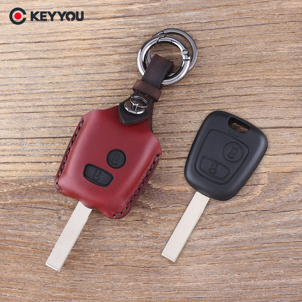 KEYYOU Leather Car Key Cover Holder for Peugeot 206 307 207 408 For Citroen C2 C3 C4 2 Button Key Fob Case Shell new arrival high quality leather key chain ring cover holder car styling for peugeot 107 206 207 307 408 for citroen c2 c3 c4