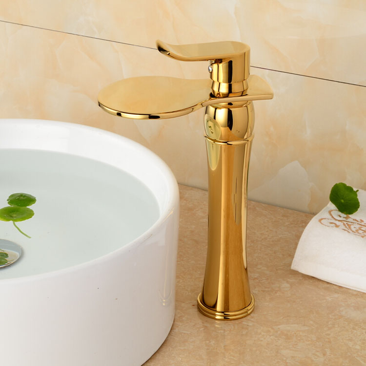 Great Quality Tall Bathroom Basin Mixer Tap Golden Polished Waterfall Sink Faucet